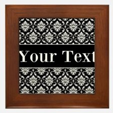 Personalizable Black White Damask Framed Tile