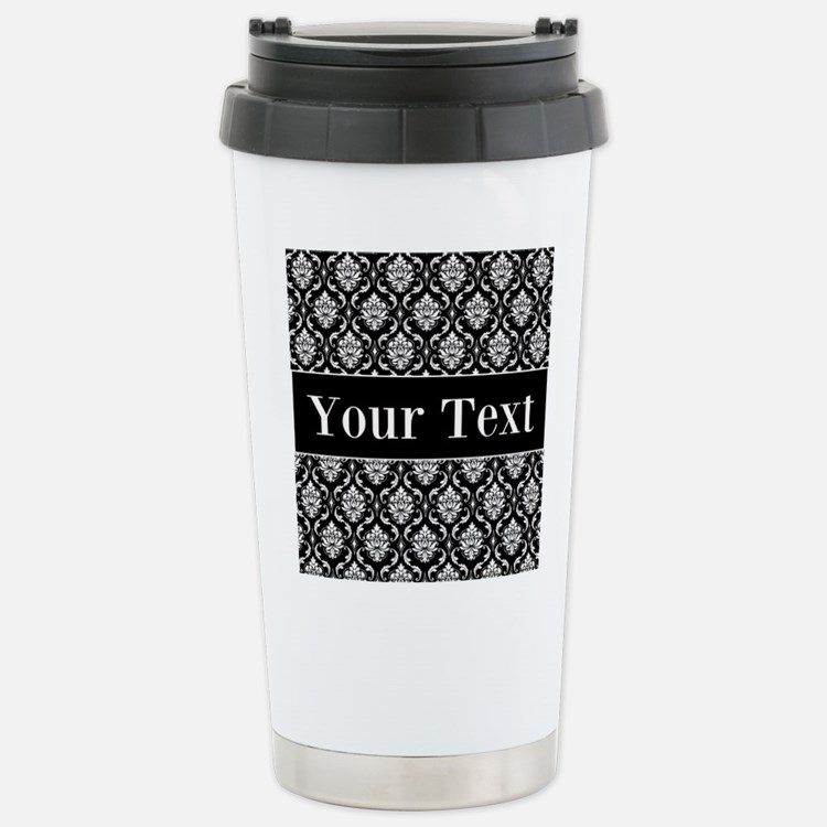 Personalizable Black White Damask Travel Mug