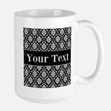 Personalizable Black White Damask Mugs