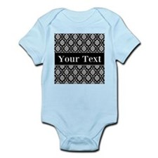 Personalizable Black White Damask Body Suit
