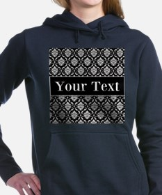 Personalizable Black White Damask Women's Hooded S