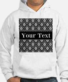 Personalizable Black White Damask Hoodie