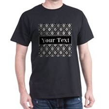 Personalizable Black White Damask T-Shirt
