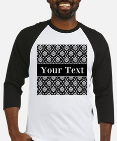 Personalizable Black White Damask Baseball Jersey
