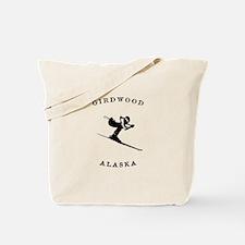 Girdwood Alaska Skiing Tote Bag