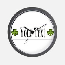 Personalizable Green Shamrock Wall Clock