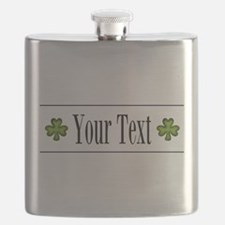 Personalizable Green Shamrock Flask