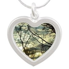 Green Skies Silver Heart Necklace