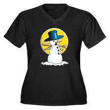 Evil Snowman 3 Women's Plus Size V-Neck Dark T-Shi