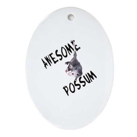 Awesome Possum Oval Ornament