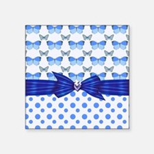 """Polka Dots and Butterflies Square Sticker 3"""" x 3"""""""