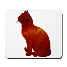 Rust Watercolor Cat Silhouette Mousepad