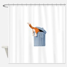 Cat in Trash Can Shower Curtain