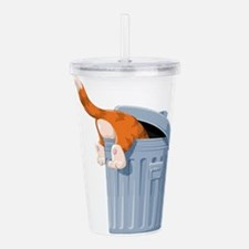 Cat in Trash Can Acrylic Double-wall Tumbler