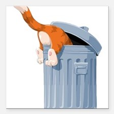 """Cat in Trash Can Square Car Magnet 3"""" x 3"""""""