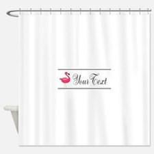 Pink Flamingo Personalizable Black Script Shower C