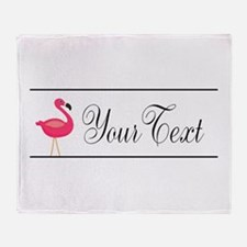 Pink Flamingo Personalizable Black Script Throw Bl