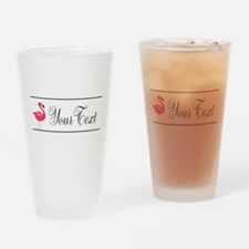 Pink Flamingo Personalizable Black Script Drinking