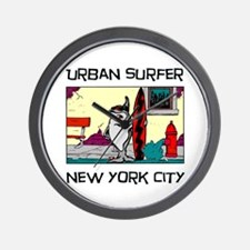 """Urban Surfer"" NYC items Wall Clock"