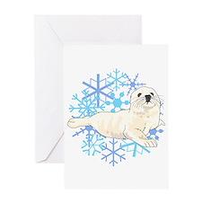 HARP SEAL SNOWFLAKES Greeting Cards