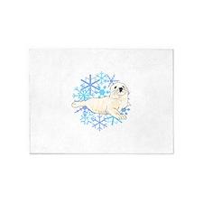 HARP SEAL SNOWFLAKES 5'x7'Area Rug