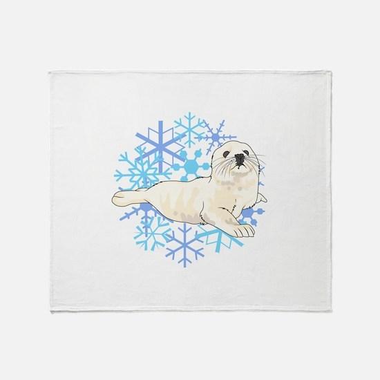 HARP SEAL SNOWFLAKES Throw Blanket