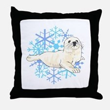 HARP SEAL SNOWFLAKES Throw Pillow