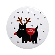 Scottie Reindeer Holiday Ornament (Round)