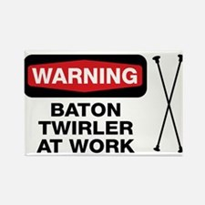 WARNING Baton Twirler Rectangle Magnet