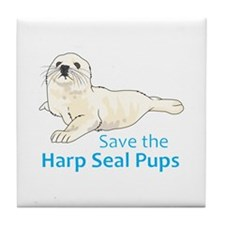 SAVE THE HARP SEAL PUPS Tile Coaster