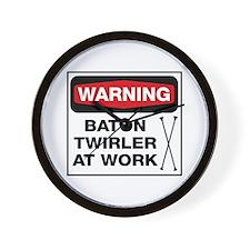 WARNING Baton Twirler Wall Clock