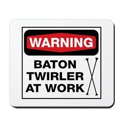 WARNING Baton Twirler Mousepad
