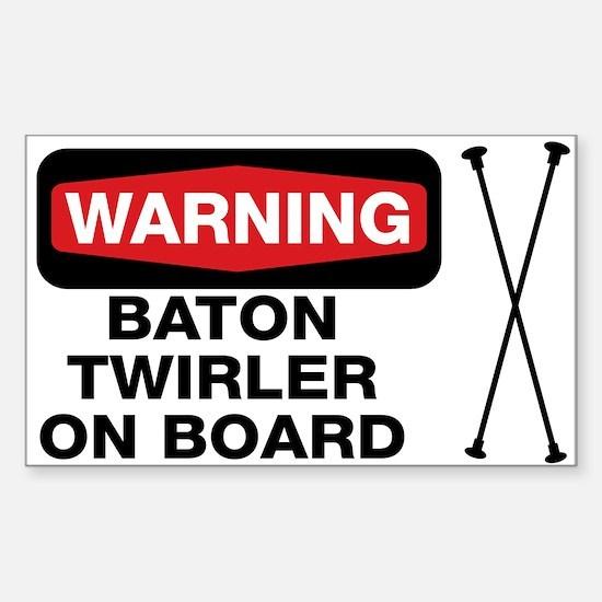 WARNING Baton Twirler Rectangle Decal