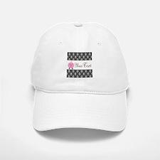 Personalizable Pink Pig Black Damask Baseball Baseball Baseball Cap