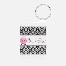 Personalizable Pink Pig Black Damask Keychains