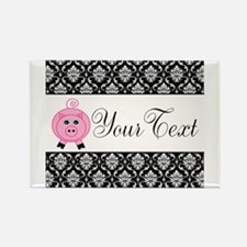 Personalizable Pink Pig Black Damask Magnets