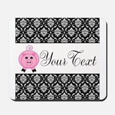 Personalizable Pink Pig Black Damask Mousepad