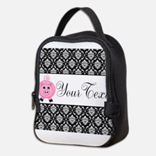 Personalizable Pink Pig Black Damask Neoprene Lunc