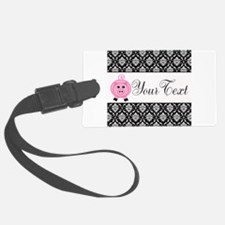 Personalizable Pink Pig Black Damask Luggage Tag