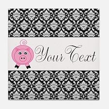 Personalizable Pink Pig Black Damask Tile Coaster