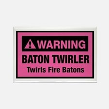 Fire Baton Twirler Rectangle Magnet