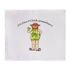 WOMAN WITH DRINK Throw Blanket