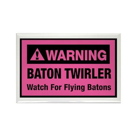 WARNING Baton Twirler Rectangle Magnet