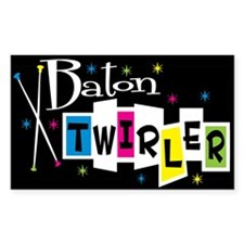 Retro Baton Twirler Rectangle Decal