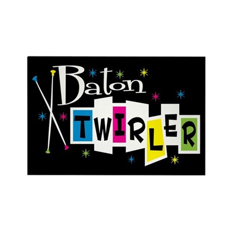 Retro Baton Twirler Rectangle Magnet (100 pack)