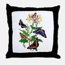 BUTTERFLIES AND HONEYSUCKLE Throw Pillow