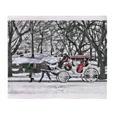 Horse Drawn Carriage in NYC Throw Blanket