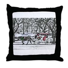 Horse Drawn Carriage in NYC Throw Pillow