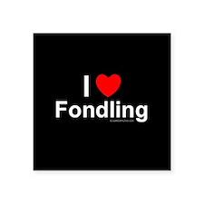 "Fondling Square Sticker 3"" x 3"""