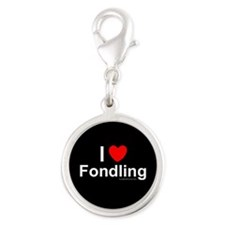 Fondling Silver Round Charm